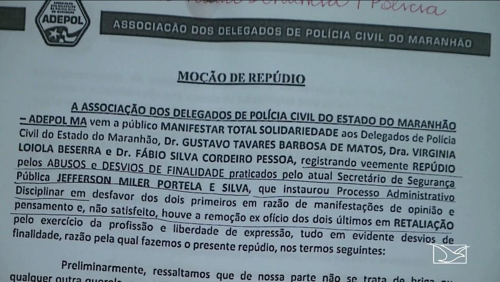 Associação dos Delegados de Polícia Civil do Maranhão (Adepol-MA) afirma que alguns delegados estariam sofrendo retaliações. (Foto: Reprodução/TV Mirante)