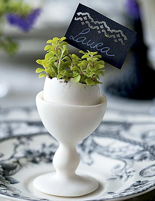 A casca vazia vira um vasinho original que marca o lugar do convidado. Um furador de scrapbook deixa o cartão ainda mais delicado. (Foto: Cacá Bratke/Casa e Comida)