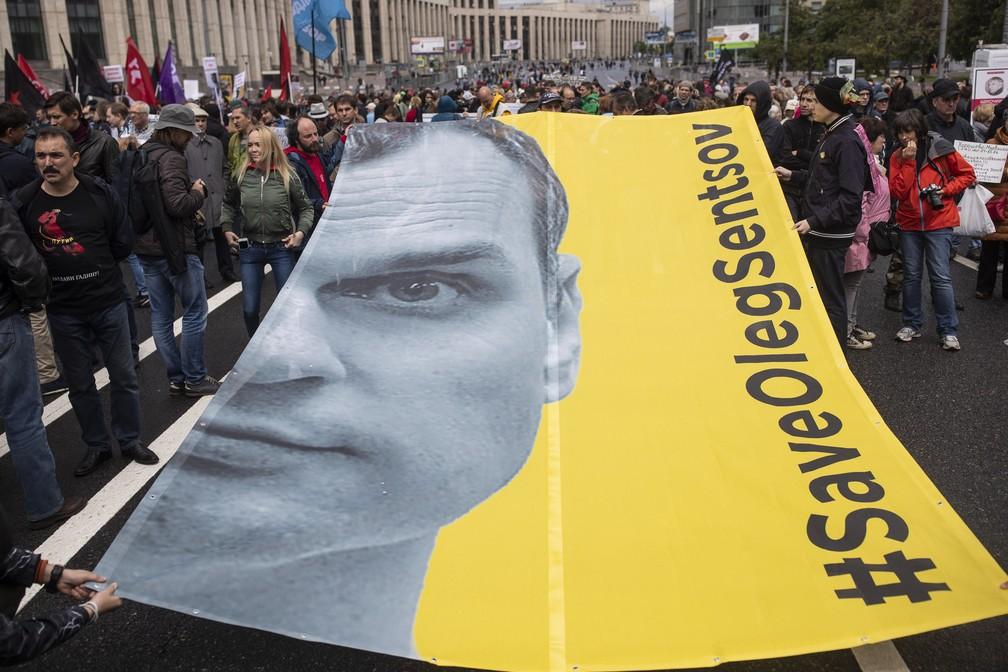 Ucraniano foi contra anexação da Crimeia e está preso por terrorismo (Foto: Evgeny Feldman/AP)