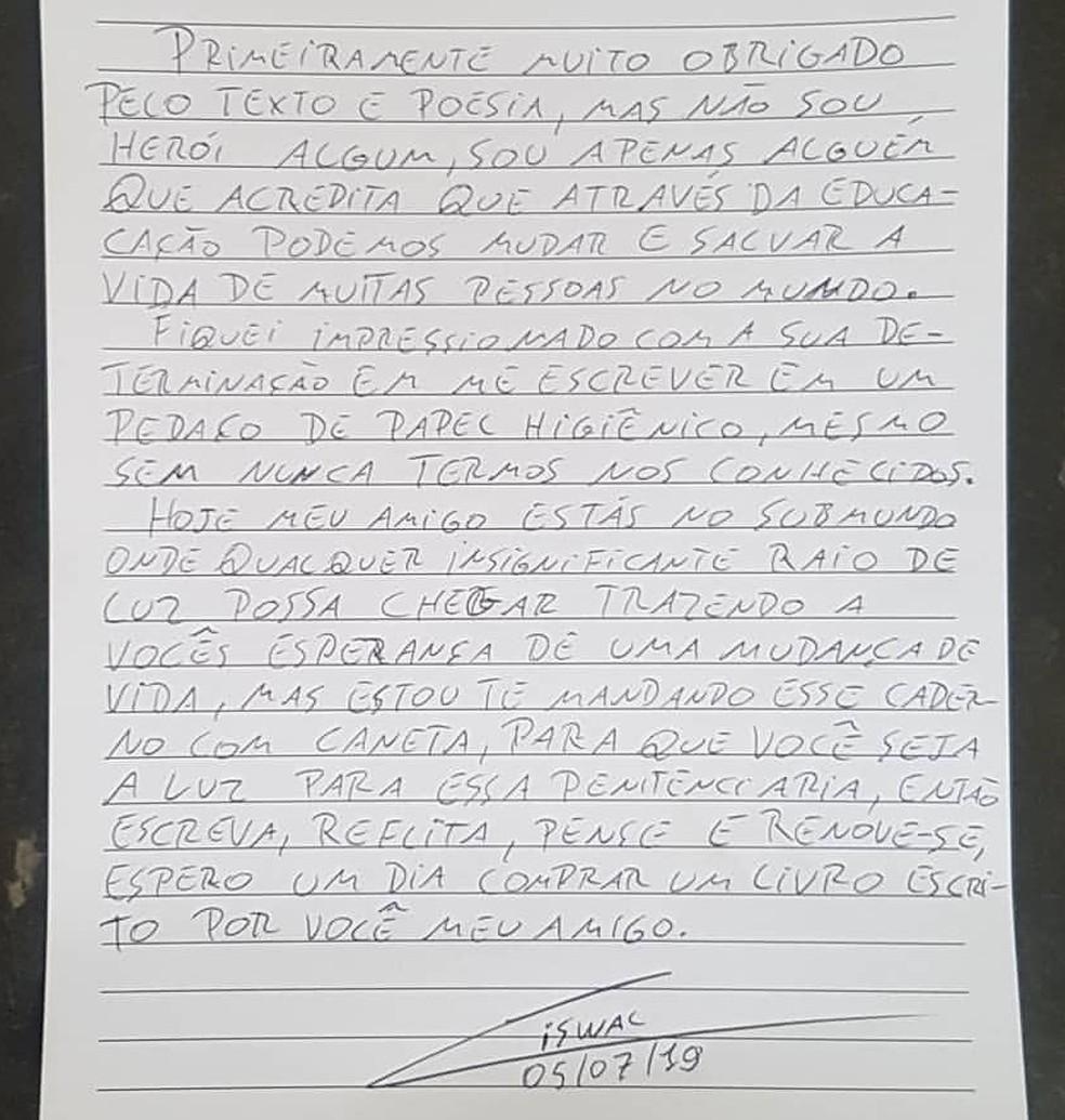 Professor Ciswal presentou o interno com o pedido e escreveu carta com resposta — Foto: Arquivo pessoal
