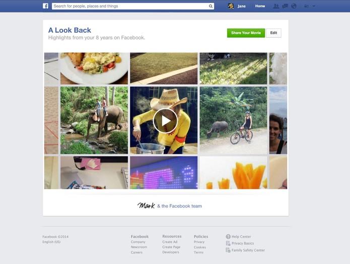 """Facebook mostra botão """"edit"""" em imagem do Look Back (Foto: Divulgação/TechTudo)"""