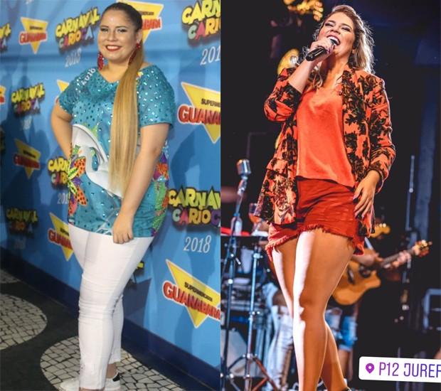 Marília Mendonça em fevereiro de 2018 e em janeiro de 2019 (Foto: AgNews e Reprodução/Instagram)
