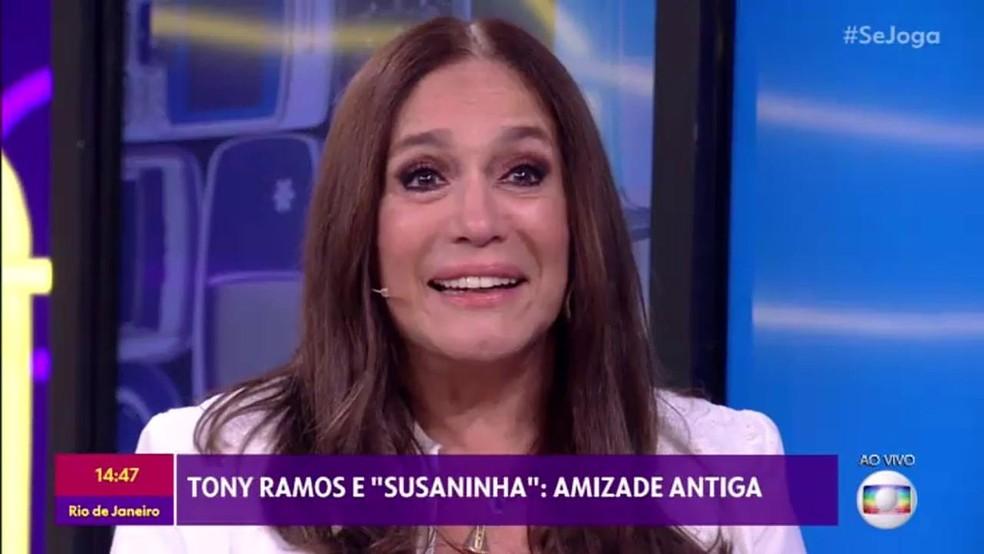 Susana Vieira se emociona com recado de Tony Ramos no 'Se joga' — Foto: TV Globo