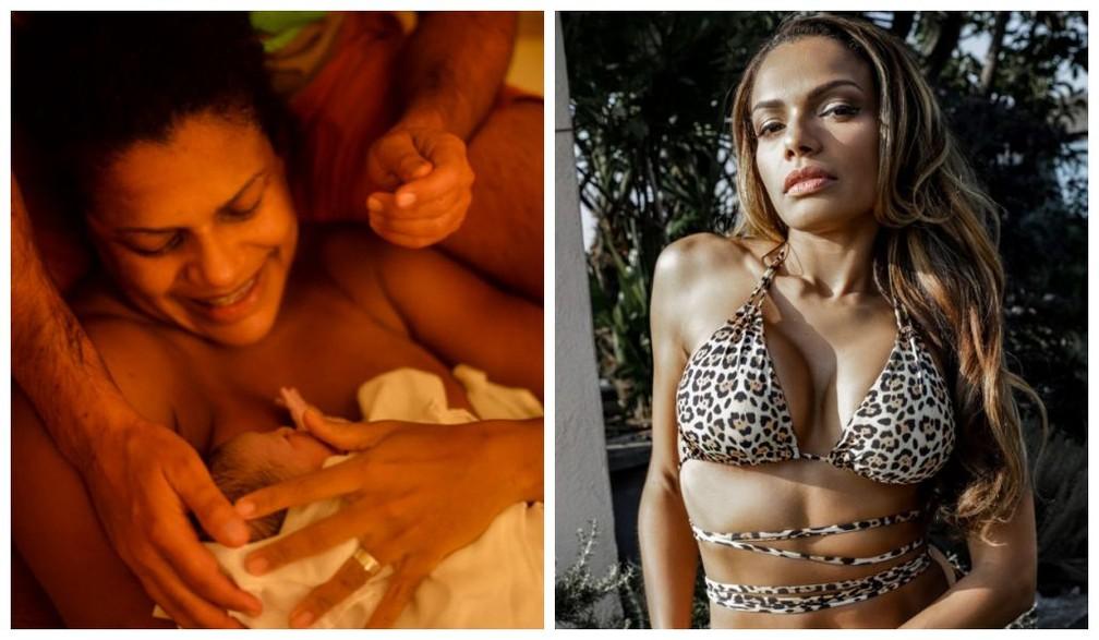 Quitéria Chagas chegou a pesar 90 quilos na gravidez  — Foto: Reprodução/Instagram e Eliane Diotti/Divulgação