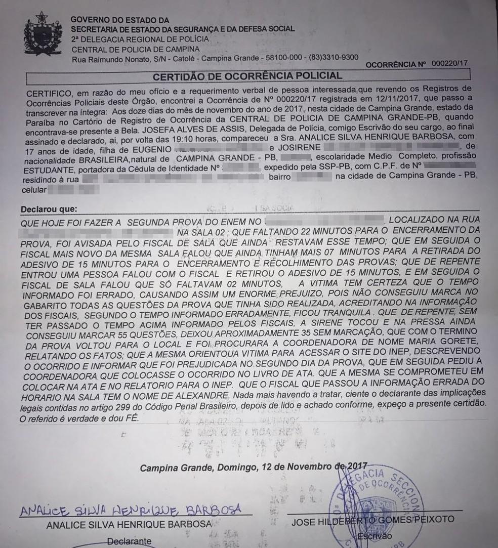 Aluna registrou boletim de ocorrência na Polícia Civil, após problema na prova. (Foto: Analine Silva/Arquivo Pessoal)