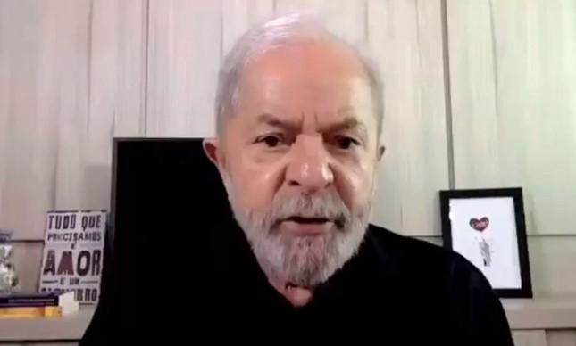 O ex-presidente Lula em vídeo