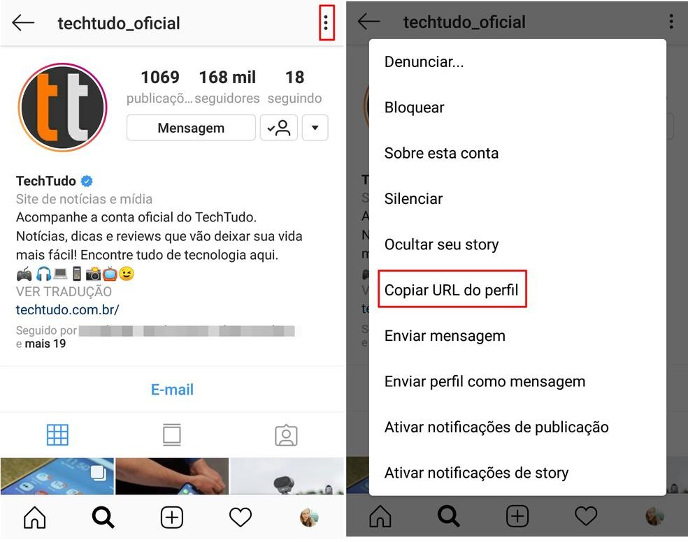 """Toque na opção """"Copiar URL do perfil"""" do Instagram — Foto: Reprodução/Taysa Coelho"""