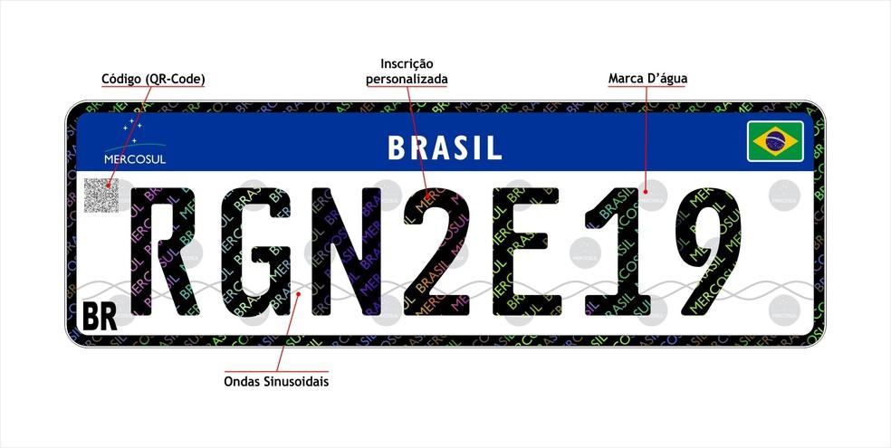 Placa padrão Mercosul para o Rio Grande do Norte — Foto: Detran-RN/Divulgação