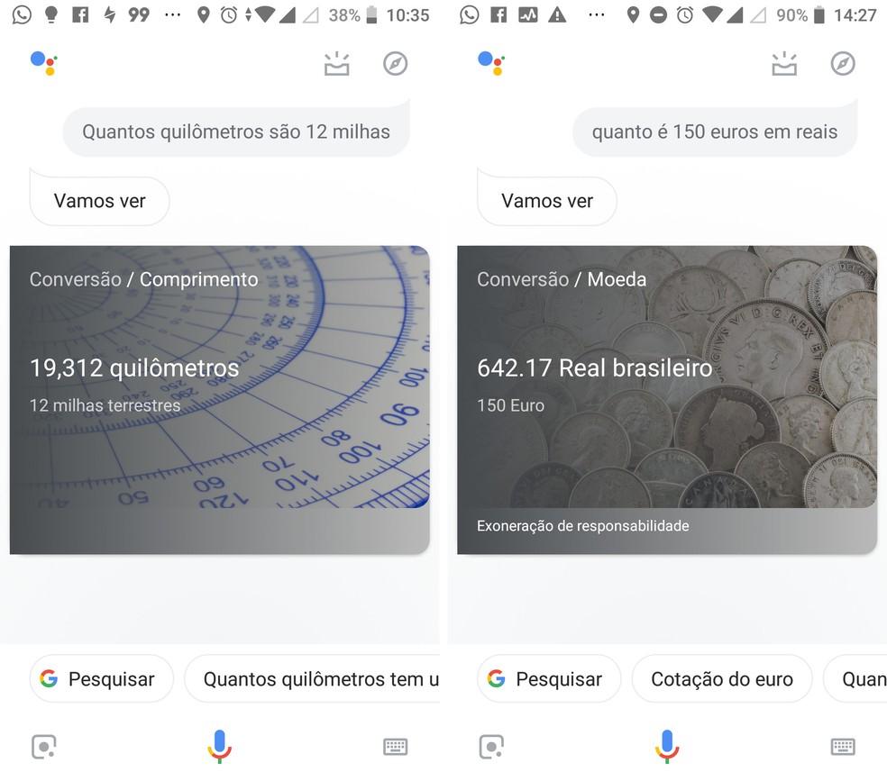 Faça conversões de moedas e medidas com a Google Assistente — Foto: Reprodução/Isabela Cabral