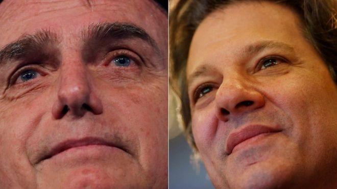 Polarização entre ideias de Jair Bolsonaro e Fernando Haddad continua no segundo turno (Foto: Reuters via BBC News Brasil)