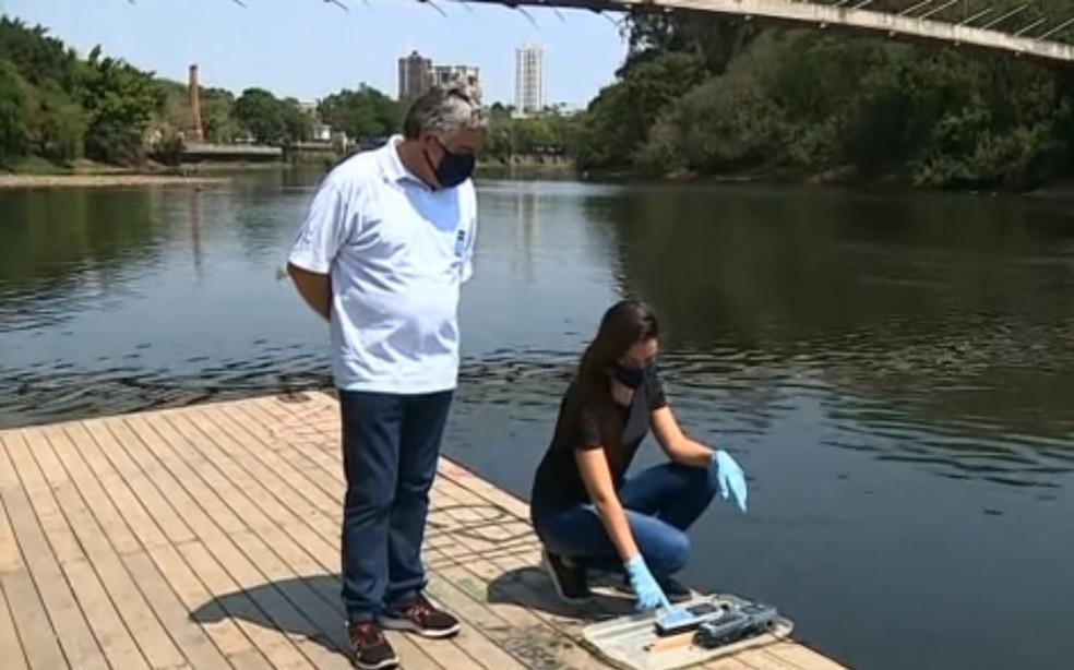 Monitoramento do Rio Piracicaba apontou alta carga de poluentes — Foto: Ronaldo Oliveira/ EPTV
