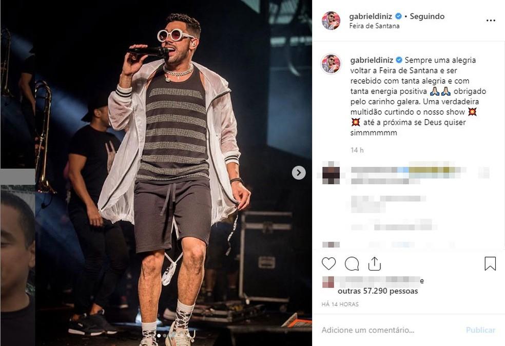 Cantor fez show na cidade de Feira de Santana — Foto: Reprodução/Instagram