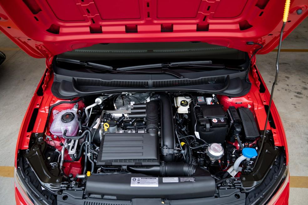 Motor 1.4 turbo é o mesmo usado em Jetta, T-Cross, Tiguan e Golf — Foto: Marcelo Brandt/G1