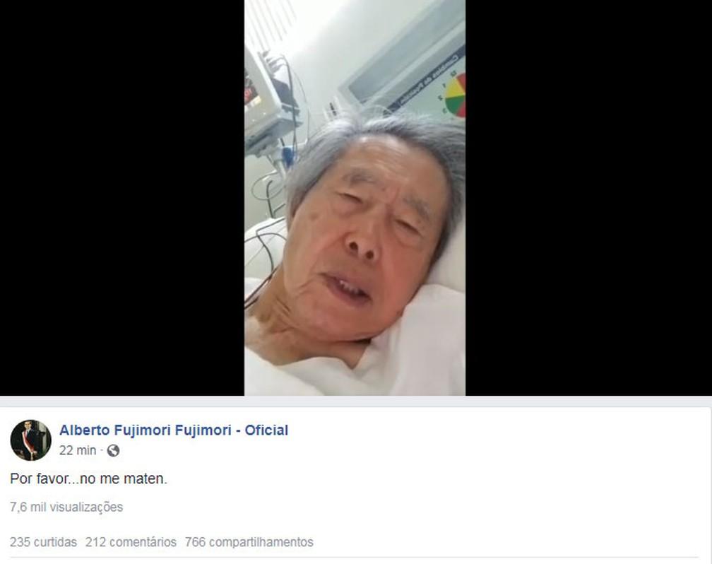Ex-presidente Alberto Fujimori aparece em vídeo pedindo que não seja devolvido à prisão — Foto: Reprodução/Facebook/Alberto Fujimori