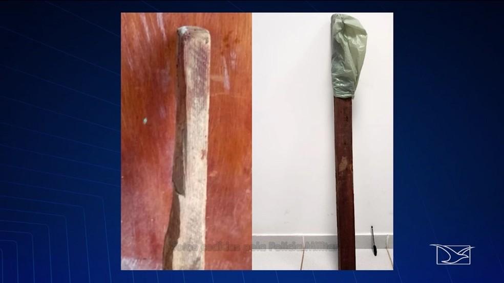 Perna-manca utilizada por Diego Silva para agredir mulher, que teve que ser socorrida e levada para o Socorrão II — Foto: Reprodução/TV Mirante