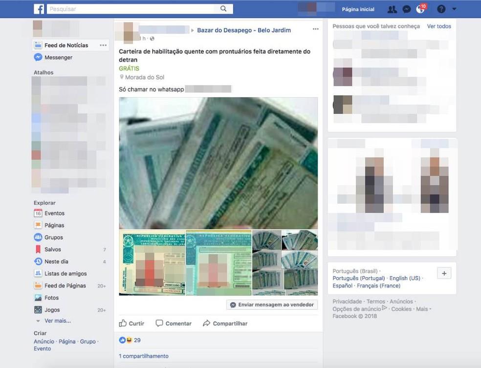 a7fcc6ff7c ... Homem anunciou venda de Carteira de Habilitação em um grupo do Facebook  — Foto  Reprodução
