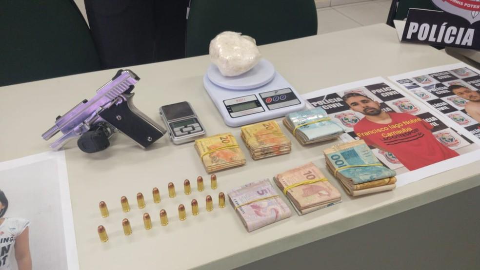 Quatro pessoas envolvidas em homicídios e tráfico de drogas em Fortaleza são presas pelo DHPP  — Foto: Leábem Monteiro/Sistema Verdes Mares