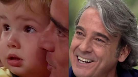 Alexandre Borges recebe homenagem e se emociona ao rever filho na infância