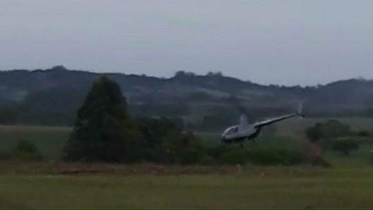 Helicóptero cai após atingir rede elétrica em Boa Vista da Aparecida