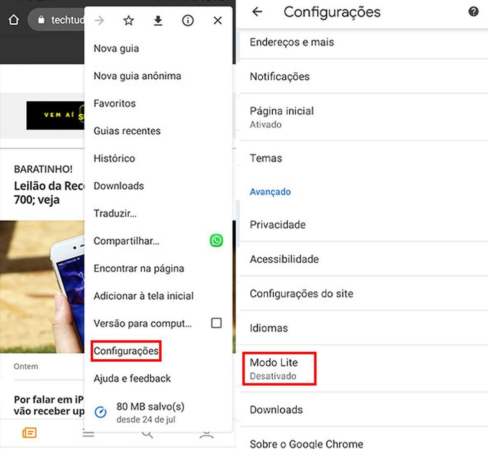 Saiba como otimizar o uso de dados do Google Chrome — Foto: Reprodução/Fernanda Lutfi