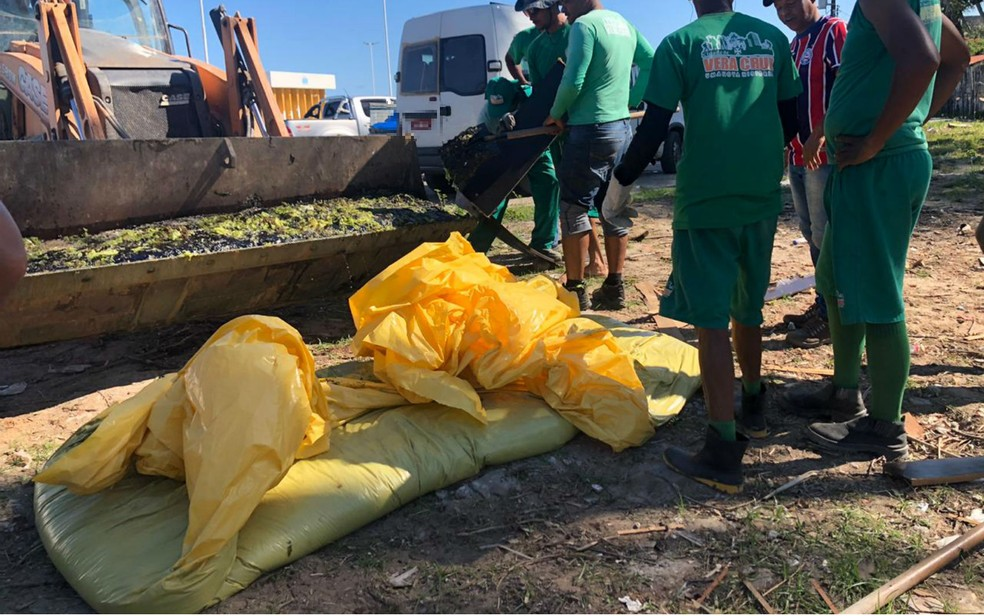 Manchas de óleo chegam à Baía de Todos-os-Santos e atingem Ilha de Itaparica — Foto: Divulgação/Prefeitura de Vera Cruz