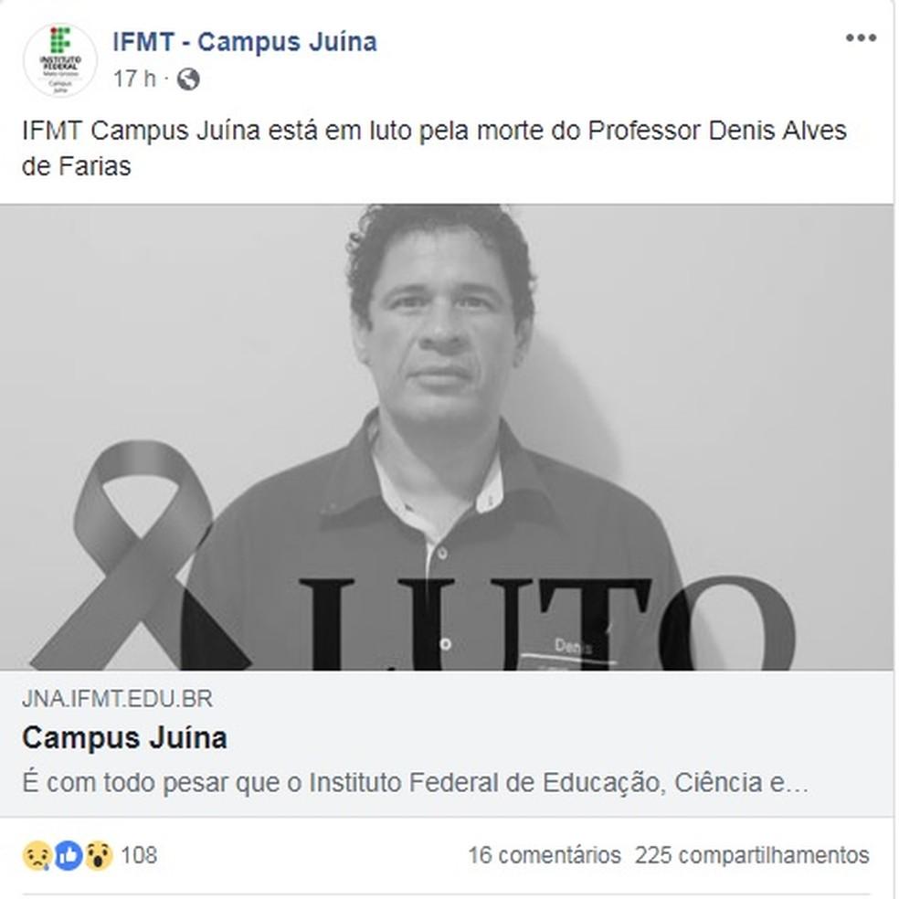 Denis Alves Farias, de 44 anos, era professor de português no IFMT — Foto: Reprodução
