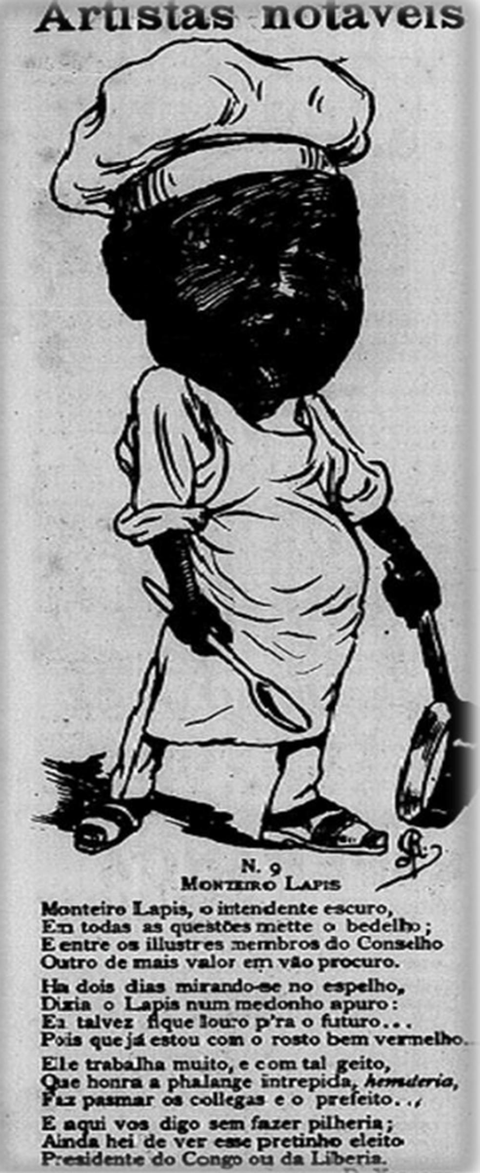 Edição da revista D. Quixote, de 1903, representa trabalhador negro como alguém ingrato, que reclama e pouco afeito ao trabalho — Foto: Biblioteca Nacional Digital/Reprodução