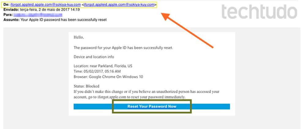 Phishing ocorre por meio de URLs suspeitas em e-mails de desconhecidos — Foto: Reprodução/Melissa Cruz