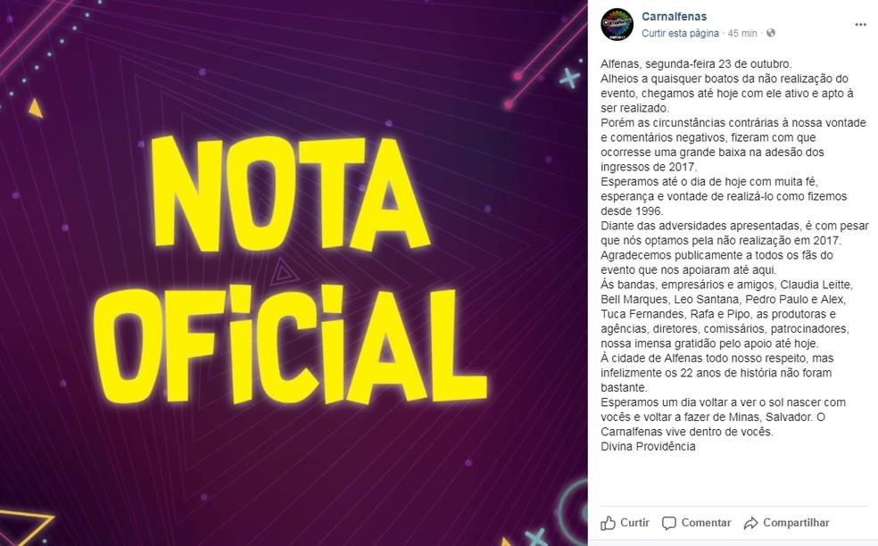 Comunicado do Carnalfenas foi postado nas redes sociais. (Foto: Divulgação/Carnalfenas)