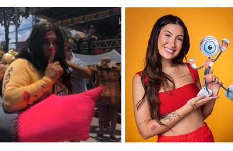 Folião se inspira em Bianca Andrade (Boca Rosa), do 'BBB': até as tatuagens da confinada foram reproduzidas Reprodução/TV Globo
