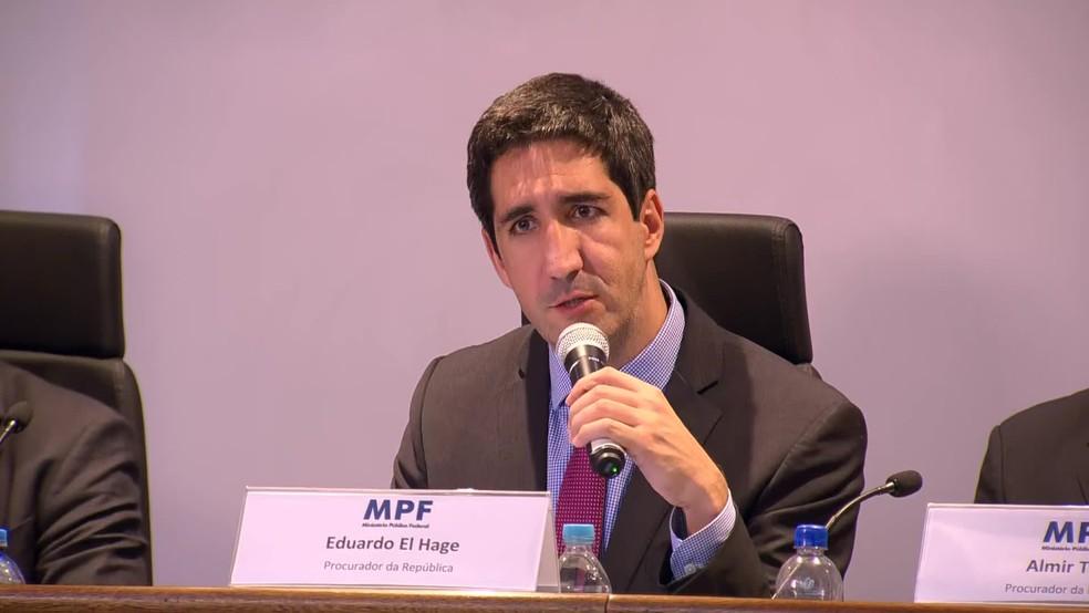 Eduardo El Hage, procurador do Ministério Público Federal e coordenador da Lava Jato no Rio, durante entrevista coletiva — Foto: Arquivo: Reprodução/Globo