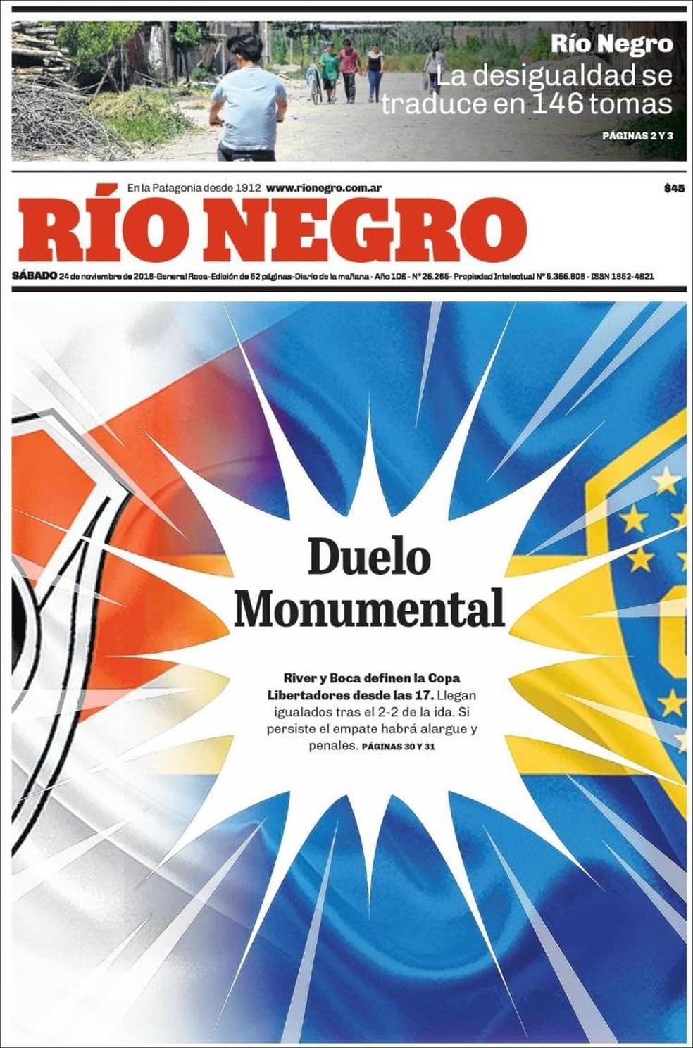 Capa Río Negro final Libertadores — Foto: Reprodução