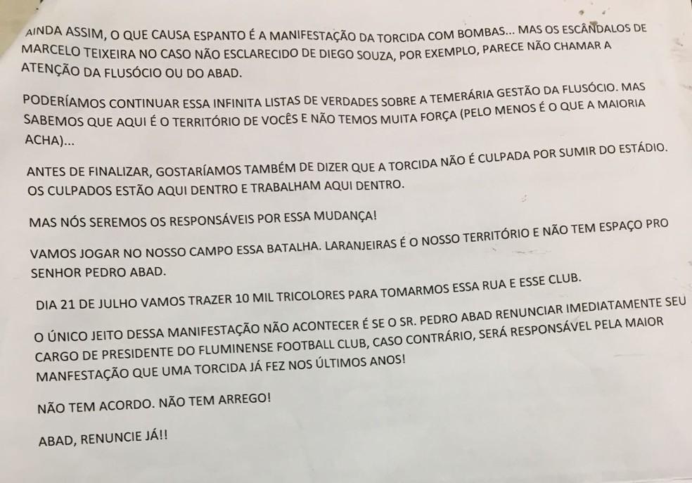 Segunda e última página do documento para ser lido na reunião do Conselho (Foto: Divulgação)