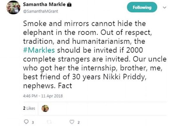 Samantha também questionou o fato de que mais de mil pessoas estranhas foram convidadas, ao invés dos próprios parentes de Meghan (Foto: Reprodução/Twitter)