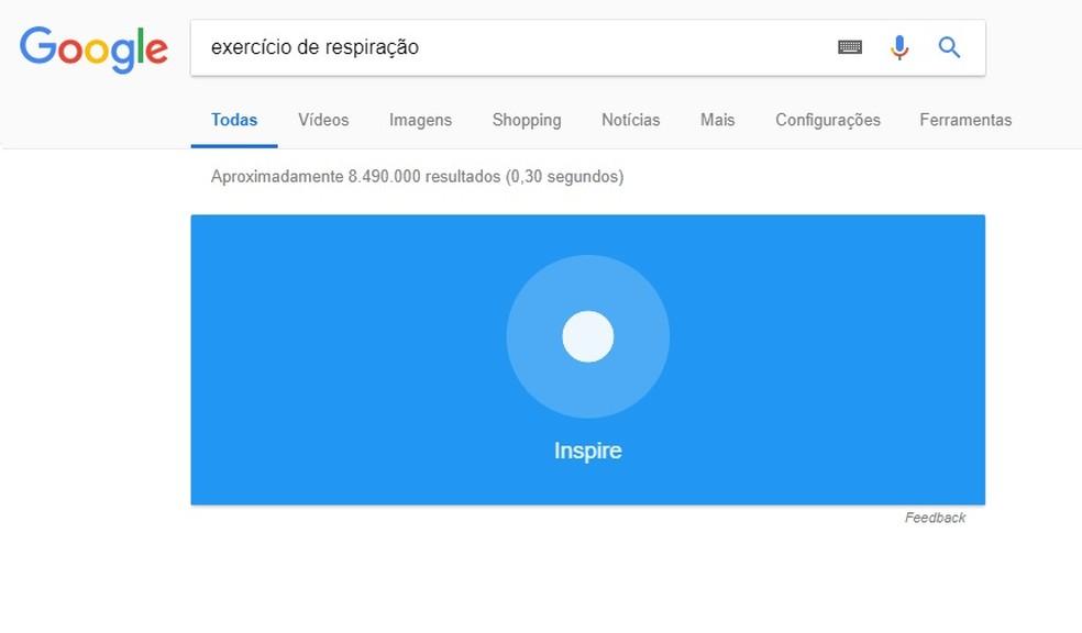 Controle sua respiração com um exercício escondido no Google (Foto: Reprodução/Rodrigo Fernandes)