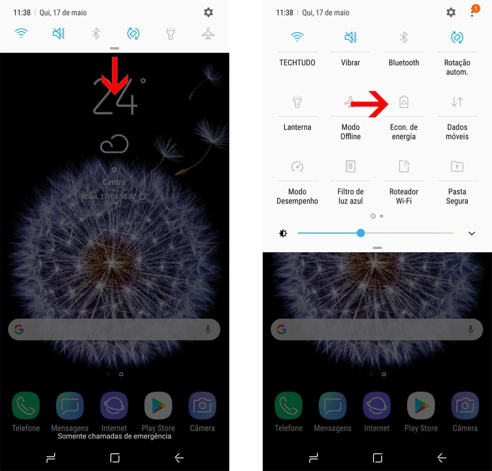 Galaxy S9: ative o modo economia de energia pela central de notificações (Foto: Reprodução/Bruno De Blasi)