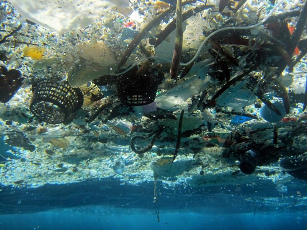 Foto de 2008 mostra detritos na Baía de Hanauma, no Havaí — Foto: NOAA Pacific Islands Fisheries Science Center/AP Photo
