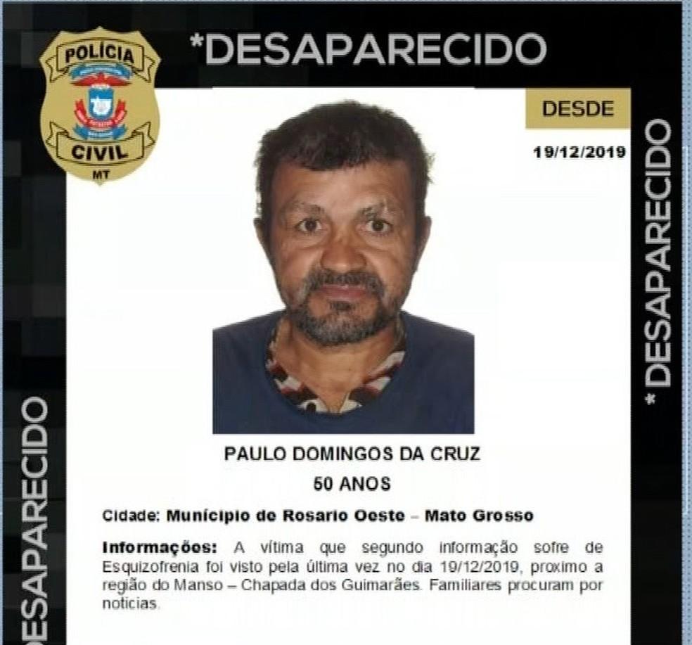 Paulo Domingos está desaparecido há mais de um mês — Foto: TVCA/Reprodução