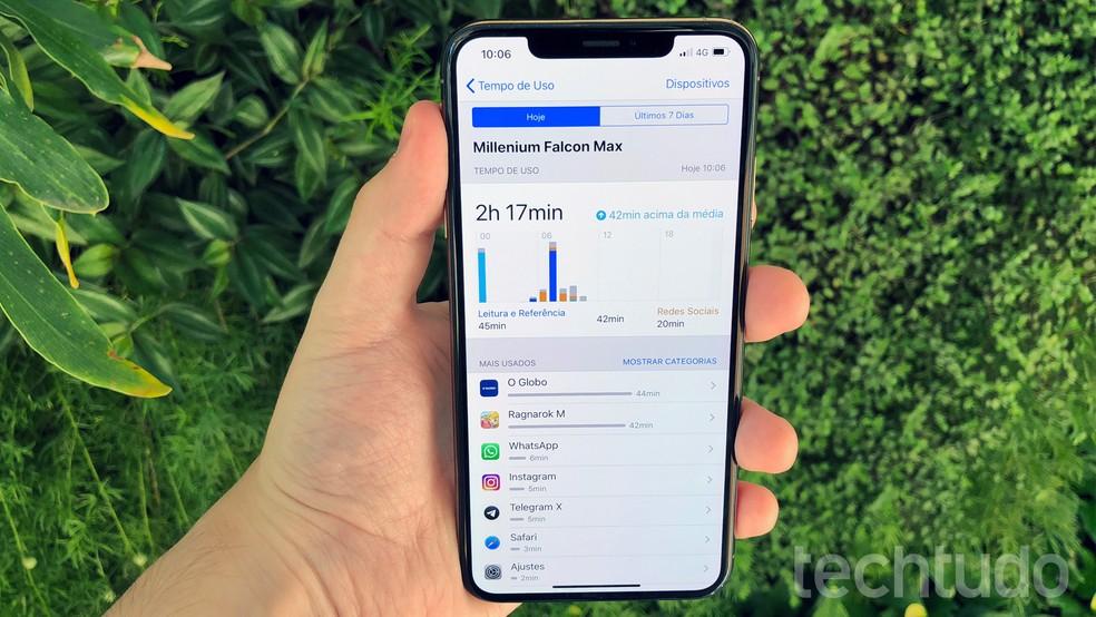 Controle de atividades do iPhone XS Max promete ajudar a passar menos tempo no celular — Foto: Bruno De Blasi/TechTudo