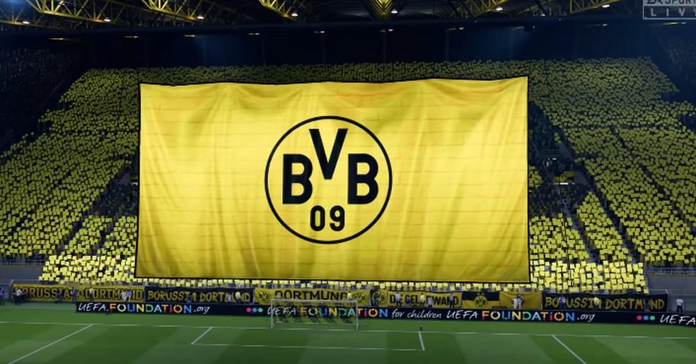 Torcida do Borussia Dortmund FIFA 20 — Foto: Reprodução