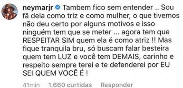 Neymar defende Bruna (Foto: Reprodução Instagram)