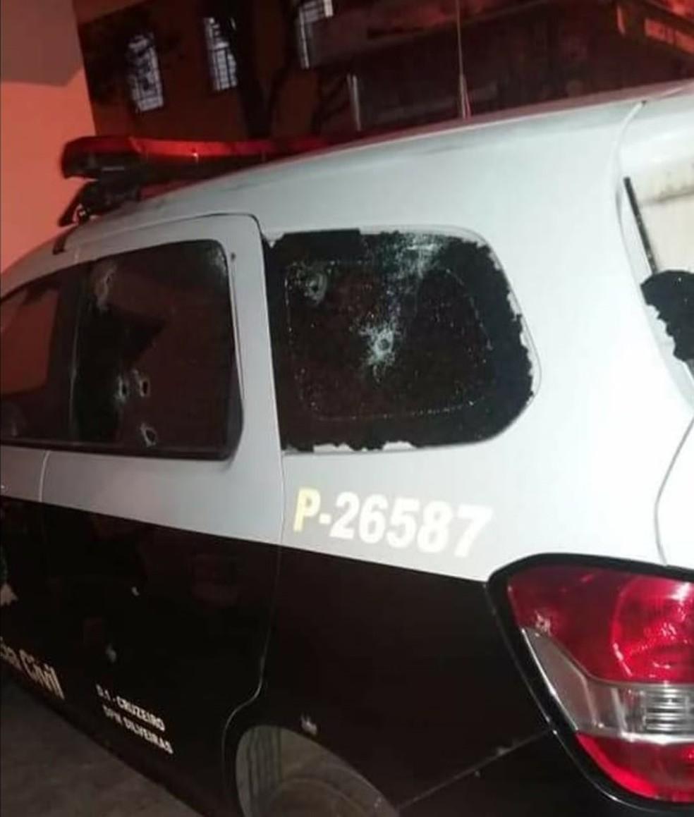 Criminosos atiraram contra bases da polícia civil e militar na ação (Foto: Divulgação/Polícia Civil)