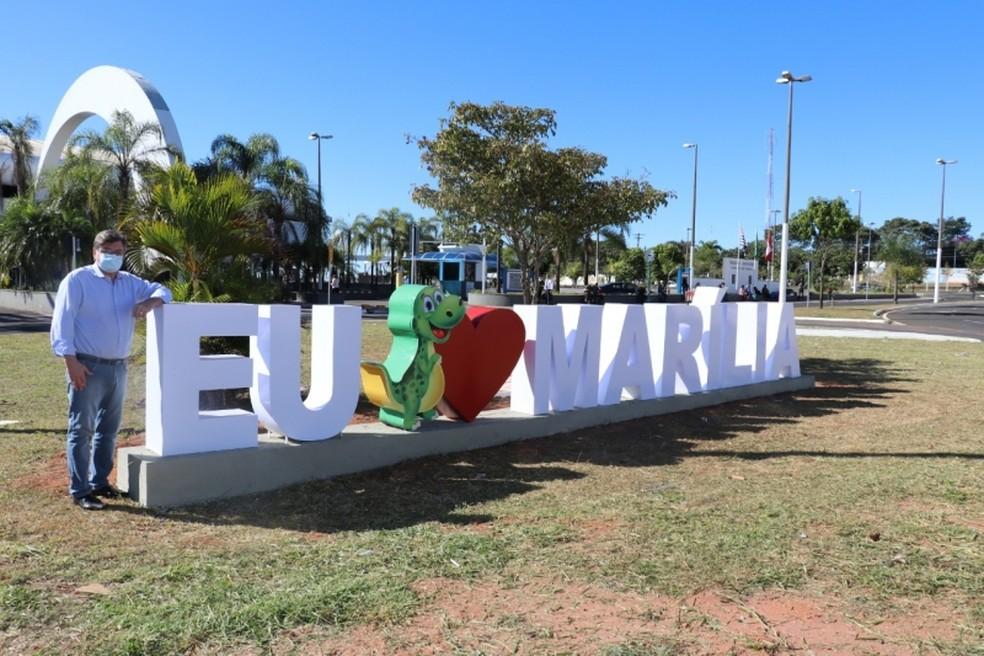 """Portal """"Eu amo Marília"""", projeto aprovado pelo Ministério do Turismo Foto: Prefeitura de Marília"""