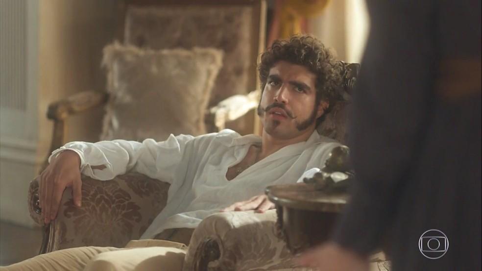 Dom Pedro (Caio Castro) subestima os sentimentos de Leopoldina (Letícia Colin), em 'Novo Mundo' — Foto: TV Globo