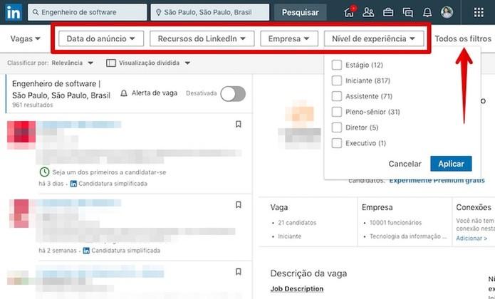 Refine os resultados com os filtros do LinkedIn (Foto: Reprodução/Helito Bijora)