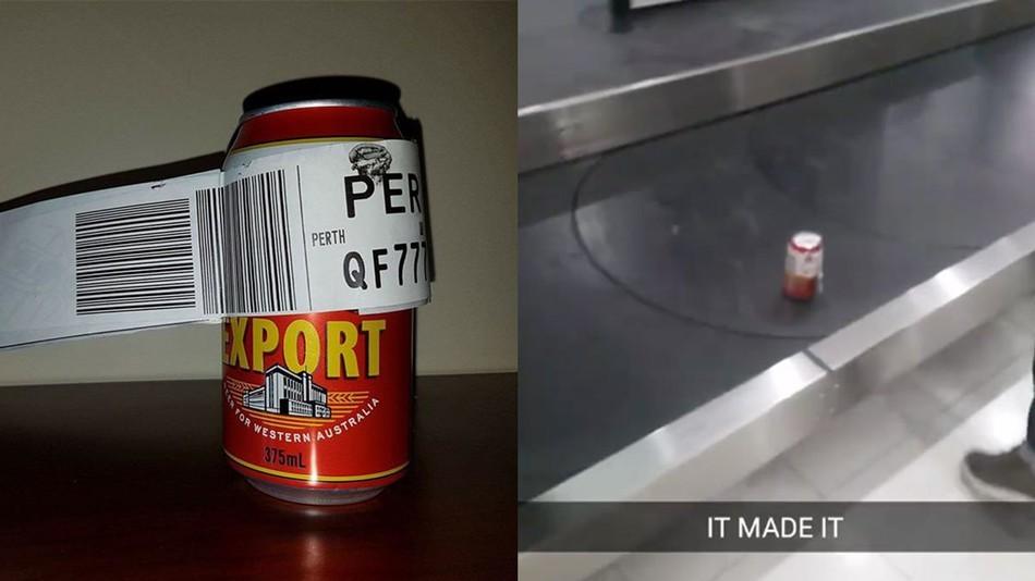 Lata de cerveja despachada no aeroporto de Melbourne