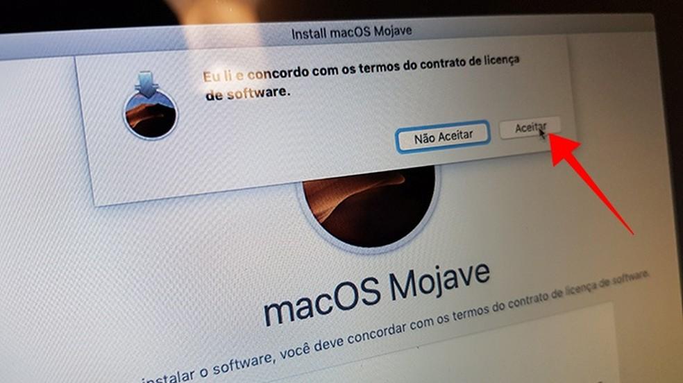 Aceite os termos de uso da Apple — Foto: Reprodução/Paulo Alves