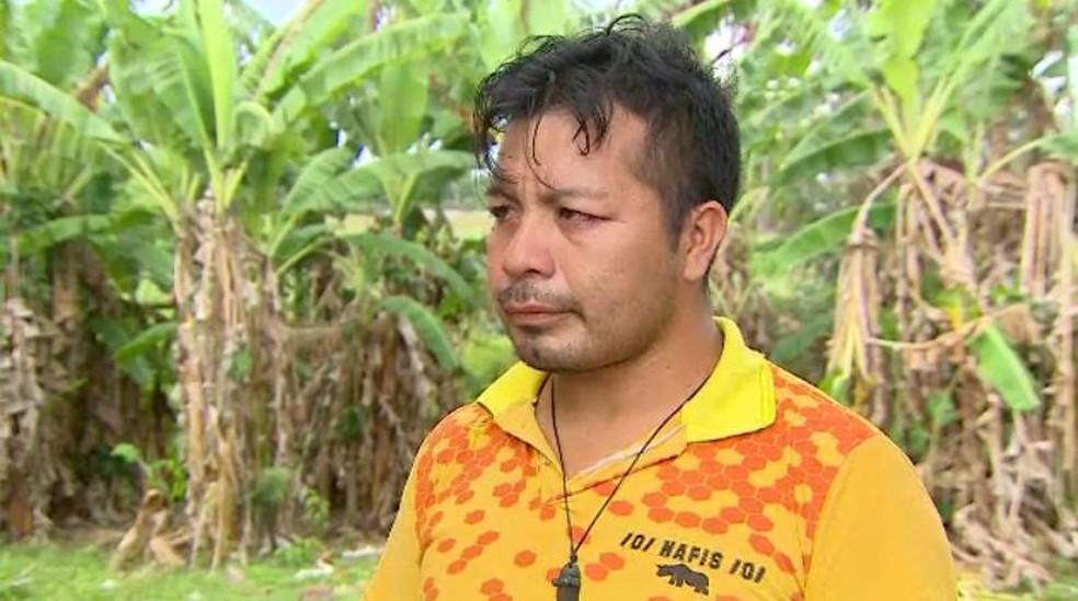 Sataraki Akuriyó, filho de índia que vinha no voo para o Sul do Amapá — Foto: Rede Amazônica/Reprodução