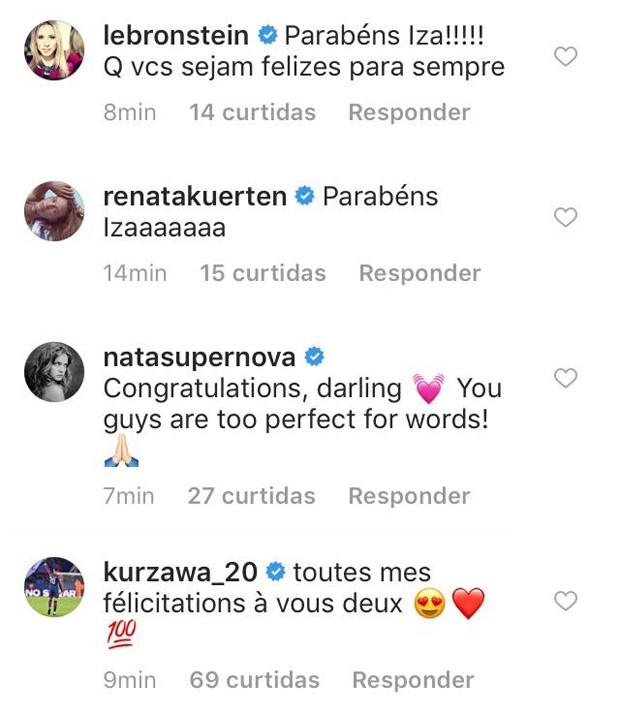 Comentários do noivado de Izabel Goulart e Kevin Trapp (Foto: Reprodução/Instagram)
