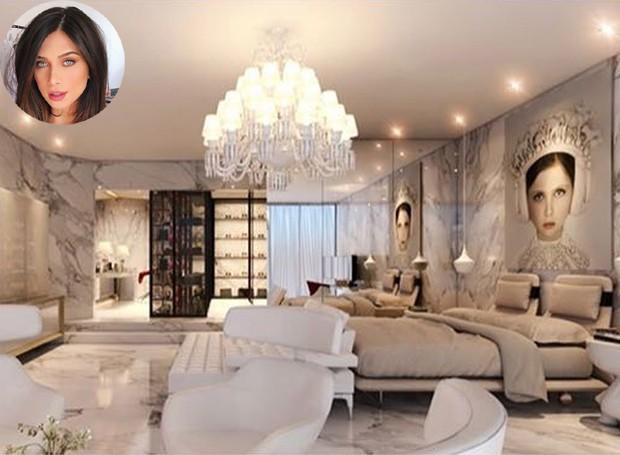 Os móveis brancos deixam o design mais clean, enquanto as paredes e o lustre conferem glamour (Foto: Instagram/ Reprodução)